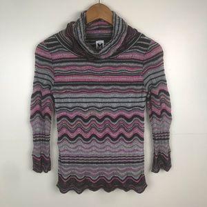 MISSONI Turtleneck Sweater Scalloped Edge Accents